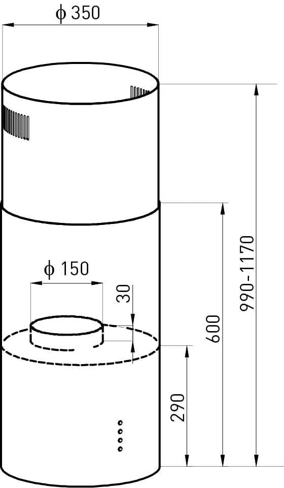 Wymiary okapu wyspowego Focus Shadow 35