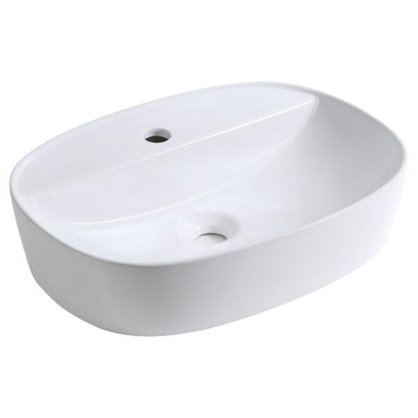 Półmatowa biała umywalka nablatowa KERRA