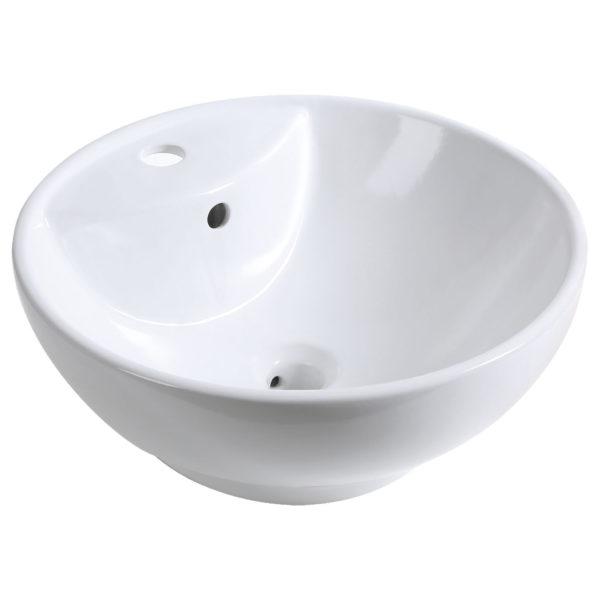 Półmatowa biała okrągła umywalka KERRA