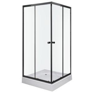 Czarna kwadratowa kabina Kerra Olga SQ 90x90 cm