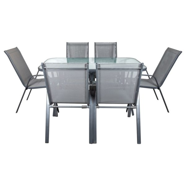 Szary zestaw stół i 6 krzeseł Loge Garden