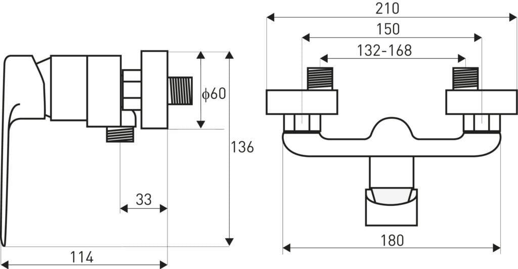 Wymiary baterii natryskowej Loge Maroko