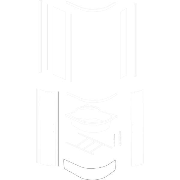 osłona brodzika Azalia 120x80 - nowa wersja