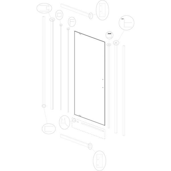 szyba drzwiowa Optimo D2 90 ML