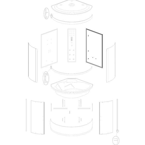 """ścianka tylna prawa do kabiny hydromasażowej Kerra """"P 135"""""""