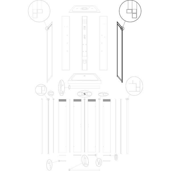 """ścianka boczna prawa do kabiny hydromasażowej Kerra """"Tuluza"""" - stara wersja"""
