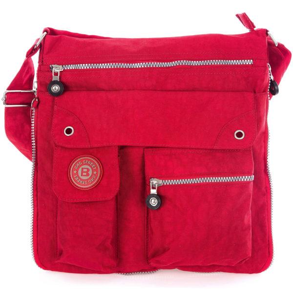 czerwona lekka materiałowa torba damska na ramię poszerzana Bag Street
