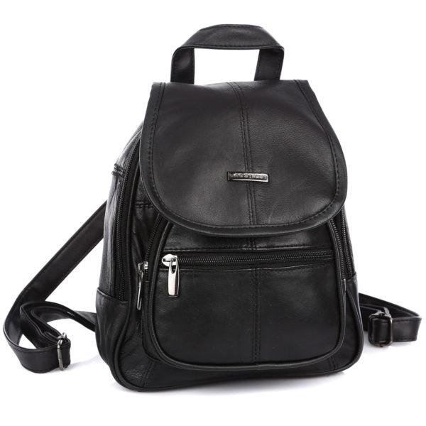 miejski plecak damski czarny ze skóry naturalnej Bag Street