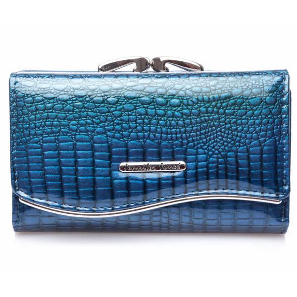 niebieski lakierowany portfel damski duży Jennifer Jones