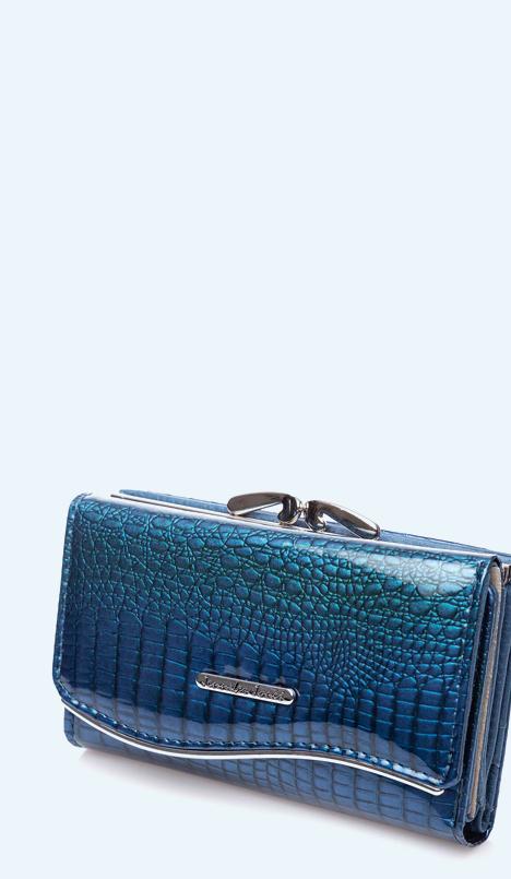 niebieski lakierowany portfel damski