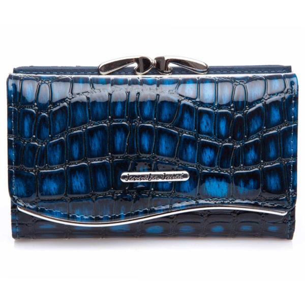 pojemny lakierowany portfel damski granatowy z cieniami Jennifer Jones 5245