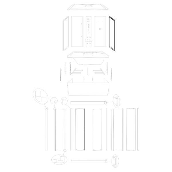 """ścianka boczna prawa do kabiny hydromasażowej Kerra """"Malaga 150"""""""