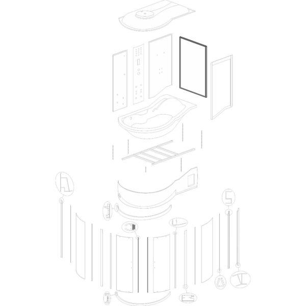 """ścianka boczna do kabiny hydromasażowej Kerra """"Fantasia DUO P"""" - v. 2"""