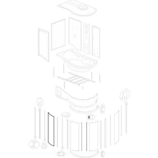 """szyba przednia stała do kabiny hydromasażowej Kerra """"Fantasia DUO"""" - v. 2"""