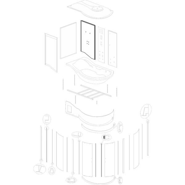 """ścianka tylna lewa do kabiny hydromasażowej Kerra """"Fantasia DUO L"""" - v. 2"""