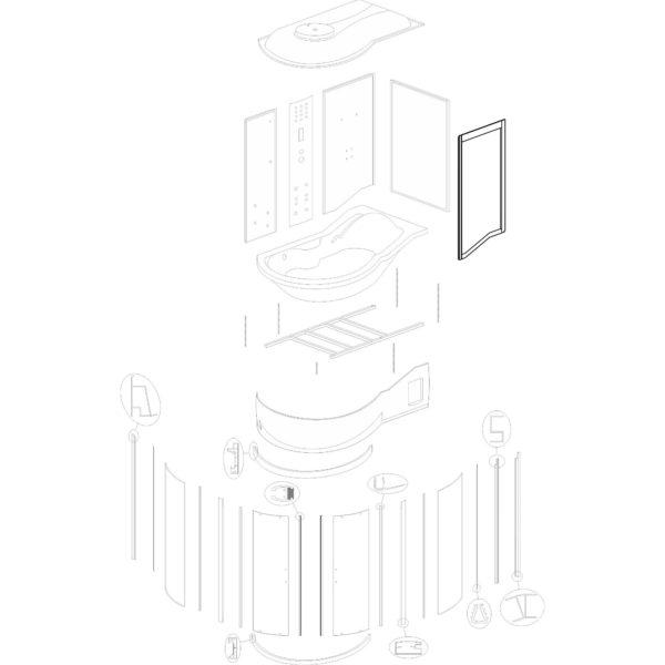 """ścianka przednia do kabiny hydromasażowej Kerra """"Fantasia DUO P"""" - v. 2"""