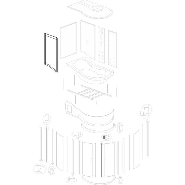 """ścianka przednia do kabiny hydromasażowej Kerra """"Fantasia DUO L"""" - v. 2"""