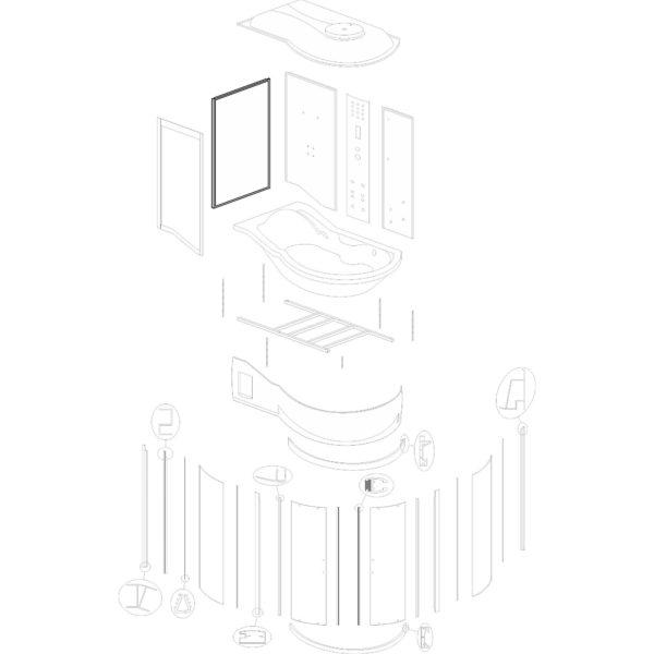"""ścianka boczna do kabiny hydromasażowej Kerra """"Fantasia DUO L"""" - v. 2"""