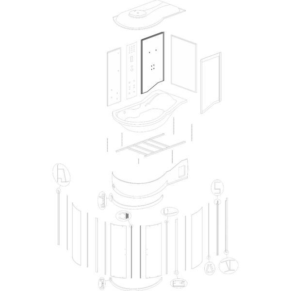 """ścianka tylna prawa do kabiny hydromasażowej Kerra """"Fantasia DUO P"""" - v. 2"""