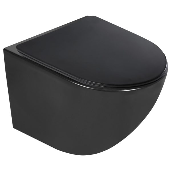Miska WC podwieszana Delos BLM z deską (czarna półmat)