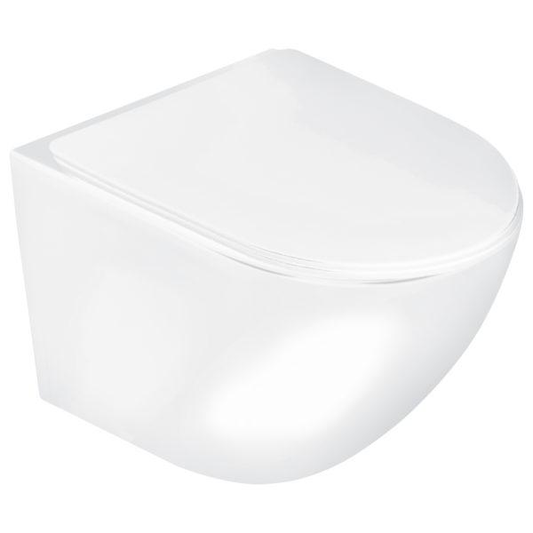 Miska WC podwieszana Delos z deską (biały połysk)